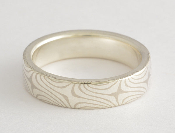 Mokume Gane Ring Woodgrain metal Ring Unique Wedding Band