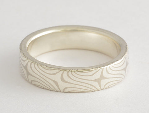 Mokume Gane Ring - Tight Star Pattern, Palladium White Gold and Sterling Silver, Narrow