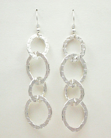 Oval Link Plaid Earrings, Long