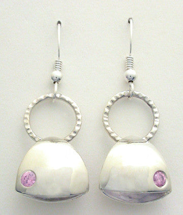 Puffy Earrings with Pink Cubic Zirconia