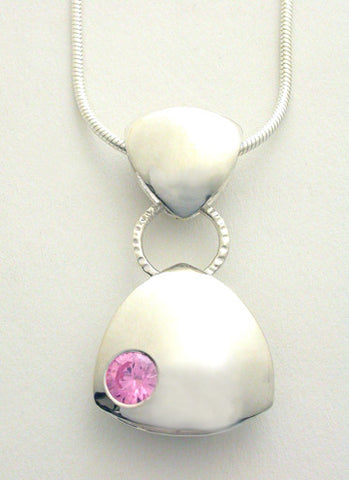Puffy Pendant with Pink Cubic Zirconia