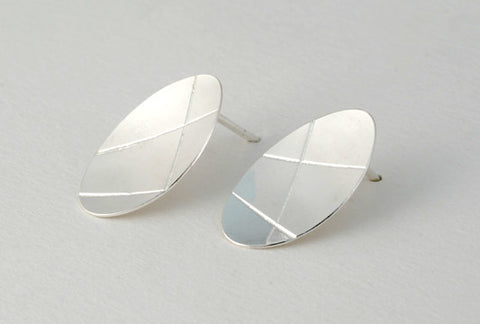 Three Lines Oval Earrings