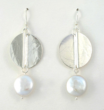 Wave Earrings with Coin Pearls