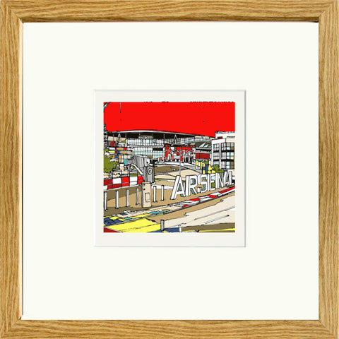 Arsenal Ashburton Grove Stadium Print Oak Frame