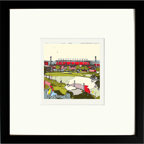 Print of Barnsley FC's Oakwell Ground Black Framed image of