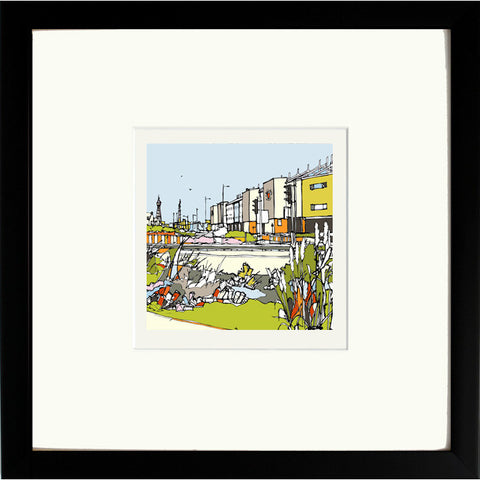 Print of Blackpool FC, Bloomfield Road in a Black Frame image of