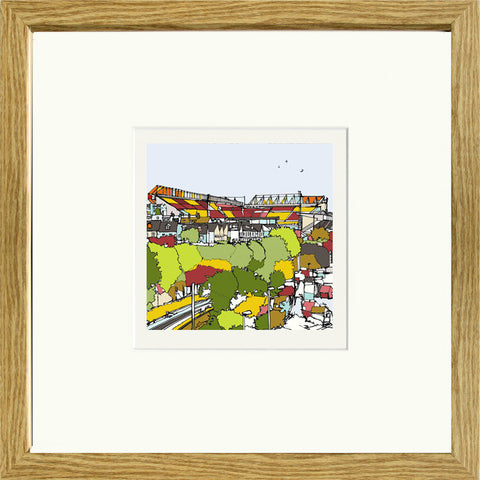 Print of Bradford City AFC Valley Parade in Oak Frame image of