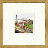 Print of Brentford FC's Griffin Park framed in oak image of