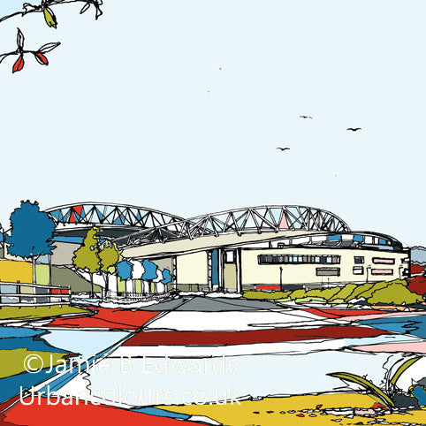 Print of Brighton and Hove Albion FC's Falmer Stadium