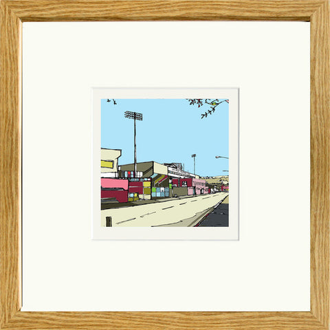 Burnley FC's Turf Moor Ground Print Framed in Oak image of