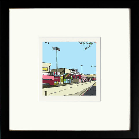 Burnley FC's Turf Moor Ground Print Framed in Black image of