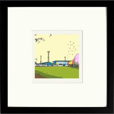 Print of Cardiff City Ninian Park Ground in Black frame image of