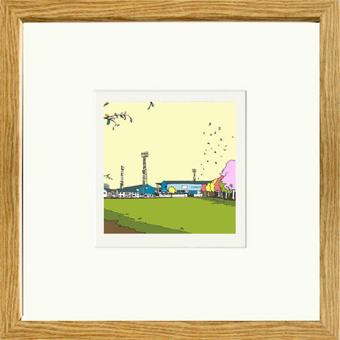 Print of Cardiff City Ninian Park Ground in Oak frame image of