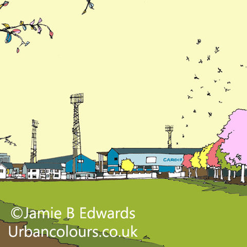 Print of Cardiff City FC's Ninian Park Ground image of
