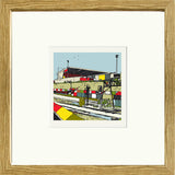 Print of Gresty Road Crewe Alexandra FC with Oak Frame image of