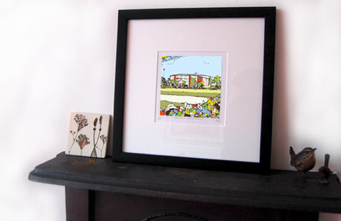 Print of Fleetwood Towns Highbury Stadium on a mantlepiece image of