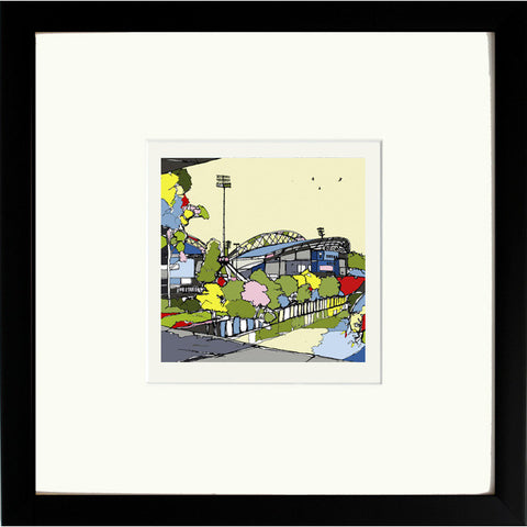Huddersfield Town's John Smiths Stadium Print Framed in Black image of