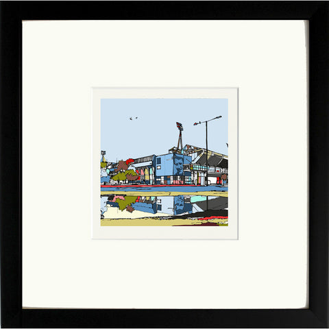 Print of Ipswich Town's Portman Road Ground in Black Frame image of