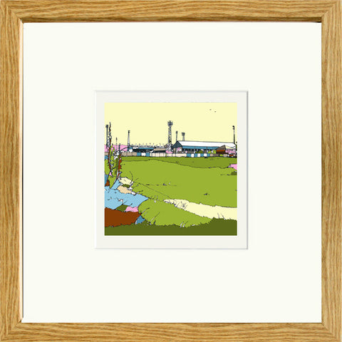 Print of Boundary Park Oldham Athletic FC in Oak Frame image of