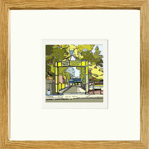 Oxford United's Manor Ground Print in Oak Frame image of