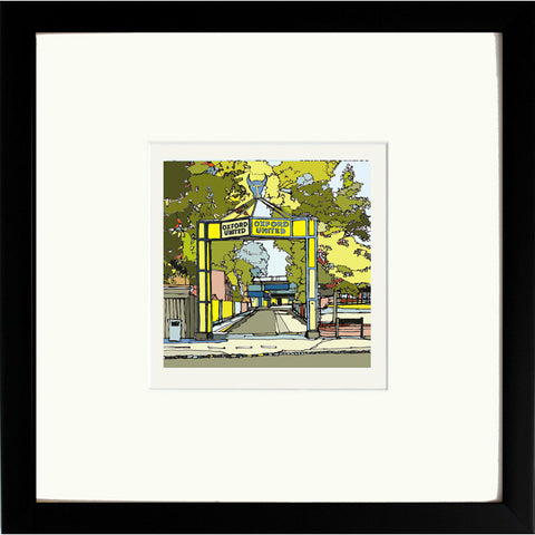 Oxford United's Manor Ground Print in Black Frame image of