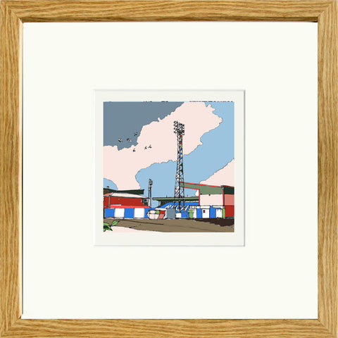 Print of The Spotland Stadium Rochdale AFC in Oak Frame image of