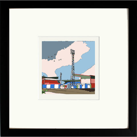 Print of The Spotland Stadium Rochdale AFC in Black Frame image of