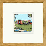 Sheffield Wednesday FC's Hillsborough Stadium, Print framed in Oak image of