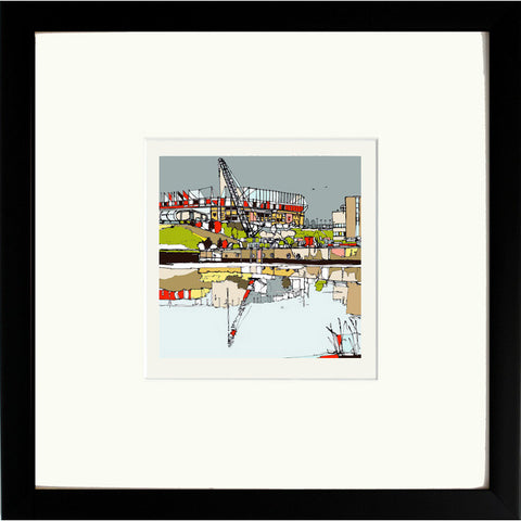 Print of Sunderland AFC's Stadium of Light in Black Frame image of
