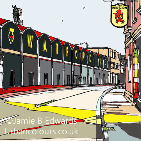 Watford's Vicarage Road print by artist Jamie B Edwards