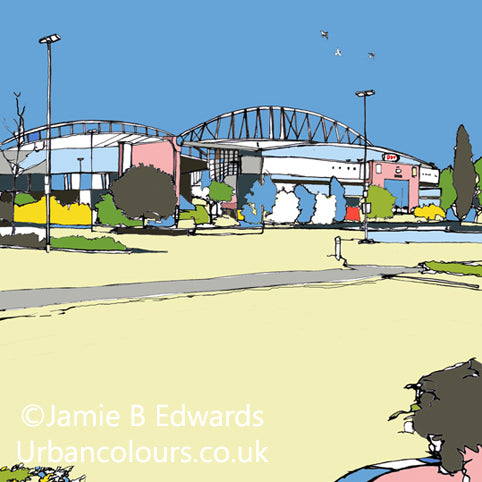 Print of DW Stadium Wigan Athletic FC and Wigan Warriors image of