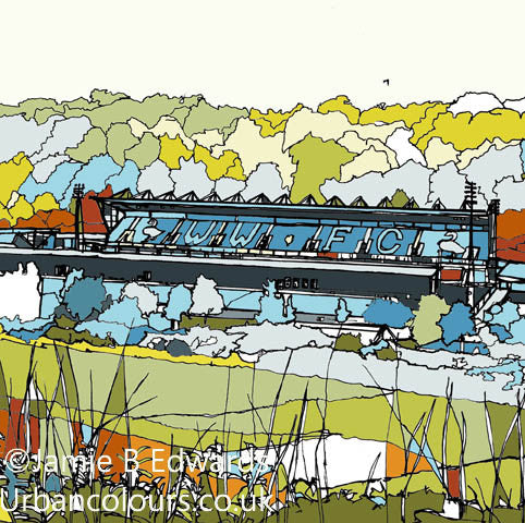 Print of Wycombe Wanderers Adams Park Ground image of
