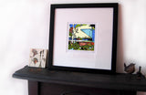 Bury FC Gigg Lane Print on a mantlepiece image of