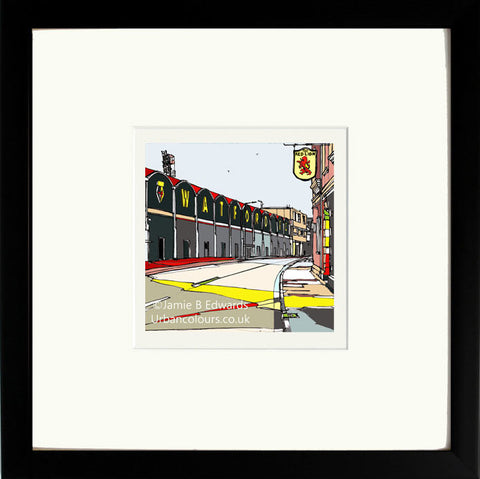 Watford's Vicarage Road print by artist Jamie B Edwards - black frame