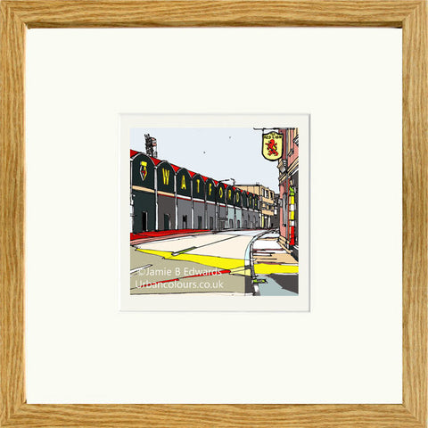 Watford's Vicarage Road print by artist Jamie B Edwards - oak frame