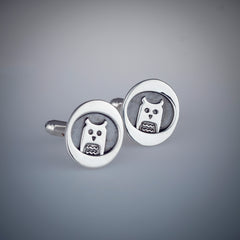 Owl Cufflinks Sterling Silver