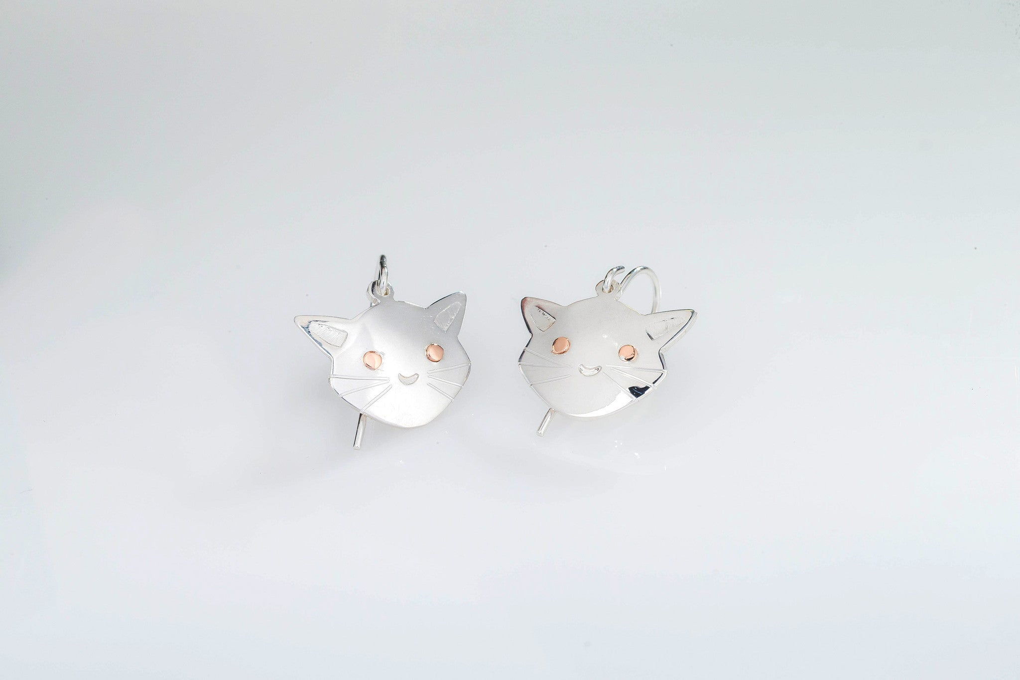 Cat Earrings Handmade In Ireland From Sterling Silver And Gold