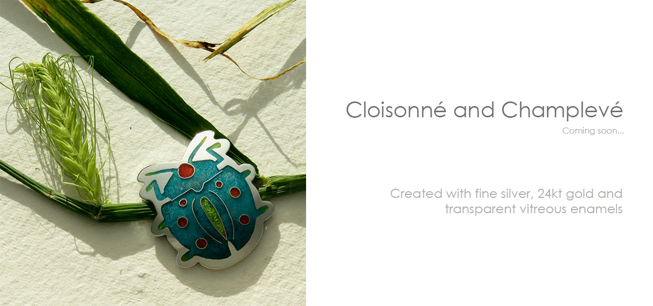 Cloisonné and Champlevé Beetle Pendant in Fine Silver and Vitreous Enamel