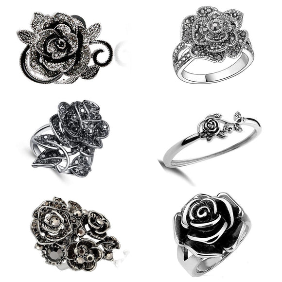 Over-Sized Vintage Inspired Rose Rings with Cubic Zirconium