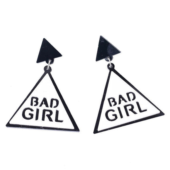 BAD GIRL Big Triangle Acrylic Dangling Statement Earrings
