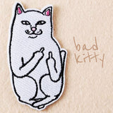 Middle Finger Cartoon Cat Patches, 10 Pieces - Embroidered, Iron-on