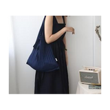 Pleated Canvas Shoulder Tote Bag