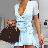 Ruched Chiffon Polka Dot V-Neck Mini Blue Summer Dress