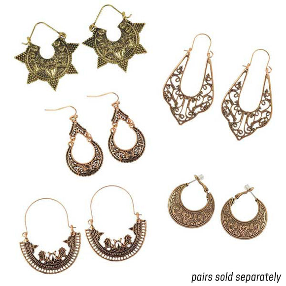 Bohemian Filigree Dangle Earrings in Gold [BOLD & BEAUTIFUL, LIKE YOU]