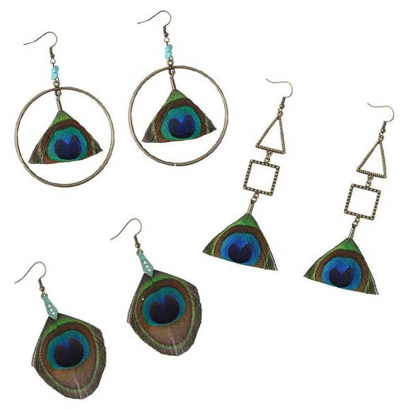 Flirty Faux Peacock Feather Tassel Earrings [SELLING OUT FAST]