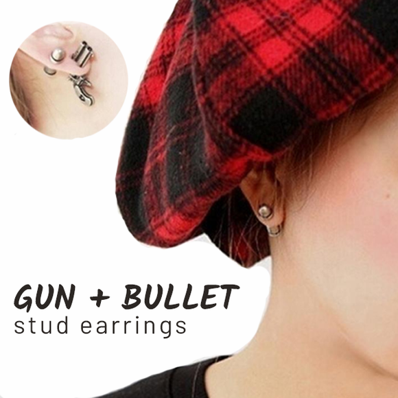 Gun and Bullet Stud Asymmetrical 3D Earrings