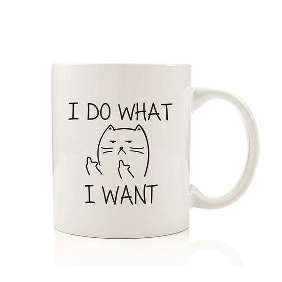 I DO WHAT I WANT Funny Middle Finger Cat Coffee Mug
