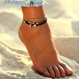 Layered Anklet with Dangling Crystal Moon
