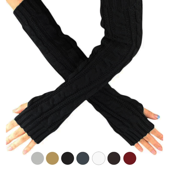 Long Knit Arm Warmers Fingerless Gloves in Various Colors