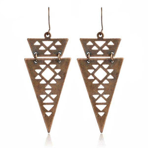 Long Triangle Rustic Dangle Earrings